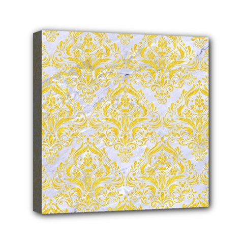 Damask1 White Marble & Yellow Colored Pencil (r) Canvas Travel Bag by trendistuff