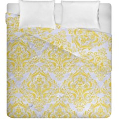 Damask1 White Marble & Yellow Colored Pencil (r) Duvet Cover Double Side (king Size) by trendistuff