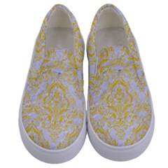 Damask1 White Marble & Yellow Colored Pencil (r) Kids  Canvas Slip Ons