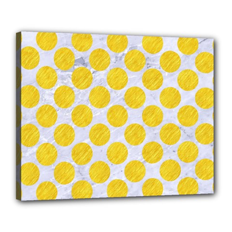 Circles2 White Marble & Yellow Colored Pencil (r) Canvas 20  X 16  by trendistuff