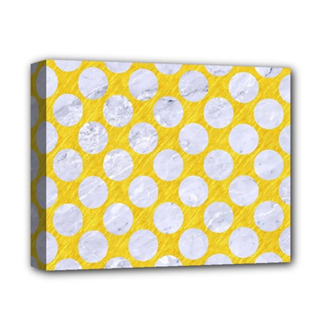 Circles2 White Marble & Yellow Colored Pencil Deluxe Canvas 14  X 11  by trendistuff