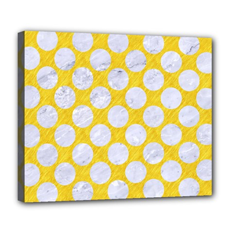 Circles2 White Marble & Yellow Colored Pencil Deluxe Canvas 24  X 20   by trendistuff