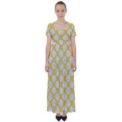 Circles2 White Marble & Yellow Colored Pencil High Waist Short Sleeve Maxi Dress