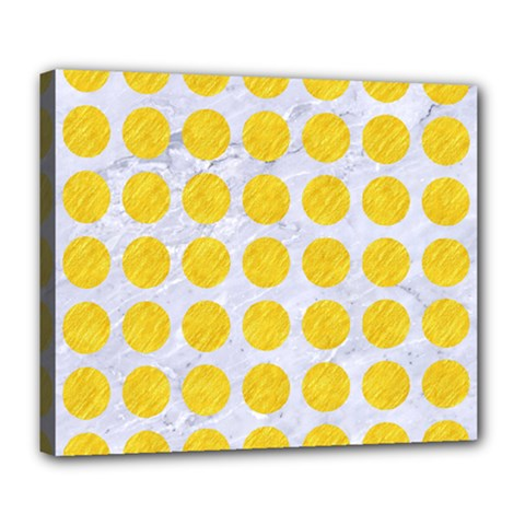 Circles1 White Marble & Yellow Colored Pencil (r) Deluxe Canvas 24  X 20   by trendistuff