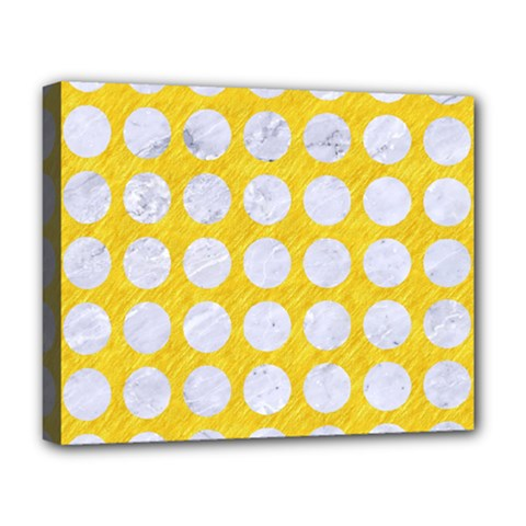 Circles1 White Marble & Yellow Colored Pencil Deluxe Canvas 20  X 16   by trendistuff