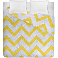 Chevron9 White Marble & Yellow Colored Pencil (r) Duvet Cover Double Side (king Size) by trendistuff