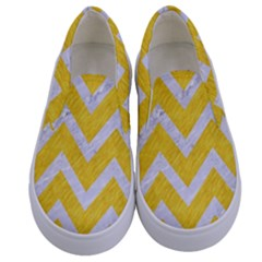 Chevron9 White Marble & Yellow Colored Pencilchevron9 White Marble & Yellow Colored Pencil Kids  Canvas Slip Ons