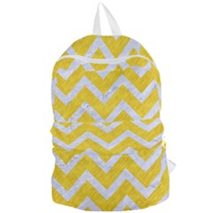 Chevron9 White Marble & Yellow Colored Pencilchevron9 White Marble & Yellow Colored Pencil Foldable Lightweight Backpack