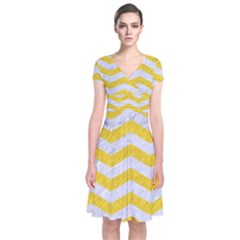 Chevron3 White Marble & Yellow Colored Pencil Short Sleeve Front Wrap Dress