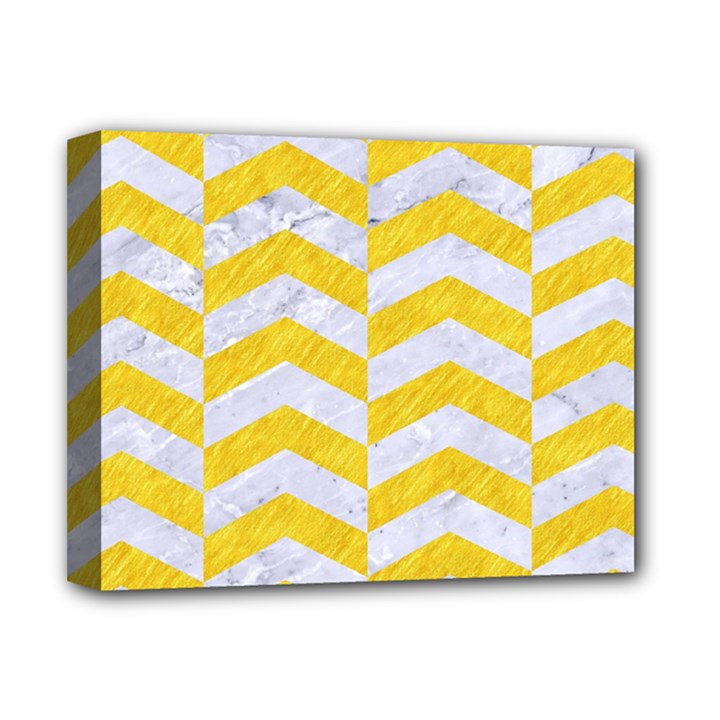 CHEVRON2 WHITE MARBLE & YELLOW COLORED PENCIL Deluxe Canvas 14  x 11