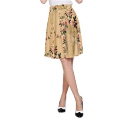 Vintage Floral Pattern A Line Skirt by paulaoliveiradesign