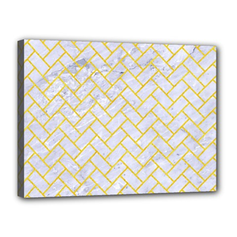 Brick2 White Marble & Yellow Colored Pencil (r) Canvas 16  X 12  by trendistuff