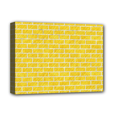 Brick1 White Marble & Yellow Colored Pencil Deluxe Canvas 16  X 12