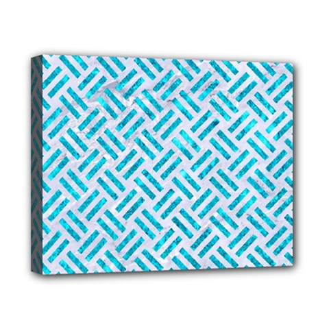 Woven2 White Marble & Turquoise Marble (r) Canvas 10  X 8  by trendistuff