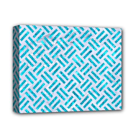 Woven2 White Marble & Turquoise Marble (r) Deluxe Canvas 14  X 11  by trendistuff