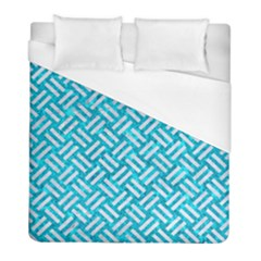 Woven2 White Marble & Turquoise Marble Duvet Cover (full/ Double Size) by trendistuff