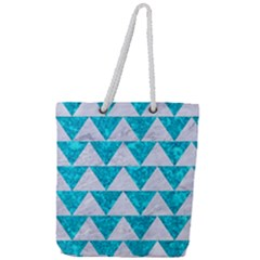 Triangle2 White Marble & Turquoise Marble Full Print Rope Handle Tote (large) by trendistuff
