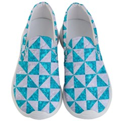 Triangle1 White Marble & Turquoise Marble Men s Lightweight Slip Ons