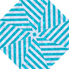 Stripes3 White Marble & Turquoise Marble Hook Handle Umbrellas (large) by trendistuff