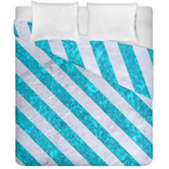 Stripes3 White Marble & Turquoise Marble Duvet Cover Double Side (california King Size) by trendistuff