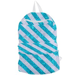 Stripes3 White Marble & Turquoise Marble Foldable Lightweight Backpack by trendistuff