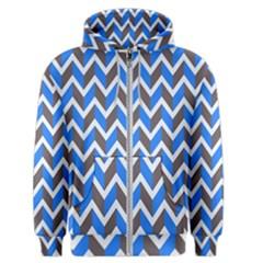 Zigzag Chevron Pattern Blue Grey Men s Zipper Hoodie by snowwhitegirl