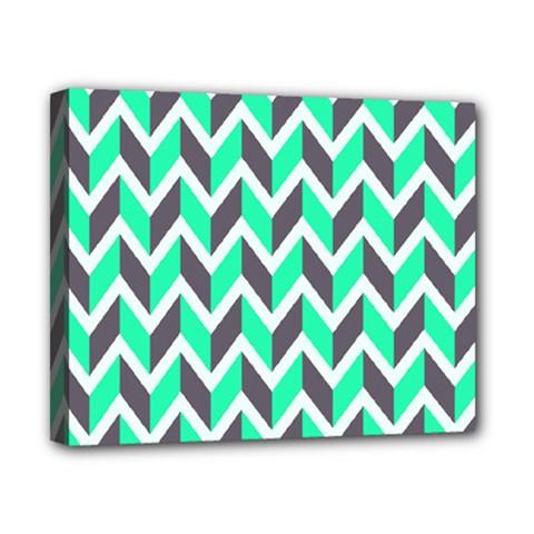Zigzag Chevron Pattern Green Grey Canvas 10  X 8  by snowwhitegirl