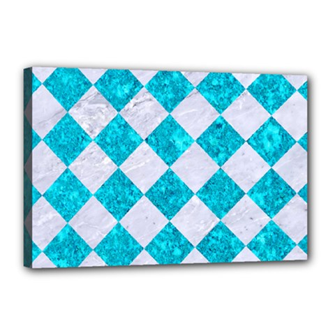 Square2 White Marble & Turquoise Marble Canvas 18  X 12  by trendistuff
