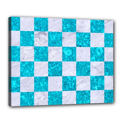 Square1 White Marble & Turquoise Marble Canvas 20  X 16  by trendistuff