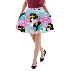 Japanese Abstract A Line Pocket Skirt by snowwhitegirl