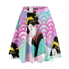 Japanese Abstract High Waist Skirt by snowwhitegirl