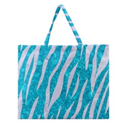 Skin3 White Marble & Turquoise Marble Zipper Large Tote Bag by trendistuff