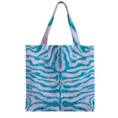 Skin2 White Marble & Turquoise Marble (r) Zipper Grocery Tote Bag by trendistuff