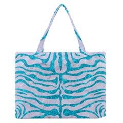 Skin2 White Marble & Turquoise Marble (r) Zipper Medium Tote Bag by trendistuff