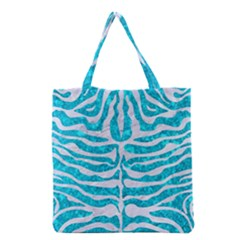 Skin2 White Marble & Turquoise Marble Grocery Tote Bag by trendistuff