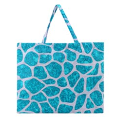 Skin1 White Marble & Turquoise Marble (r) Zipper Large Tote Bag by trendistuff