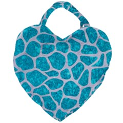 Skin1 White Marble & Turquoise Marble (r) Giant Heart Shaped Tote by trendistuff
