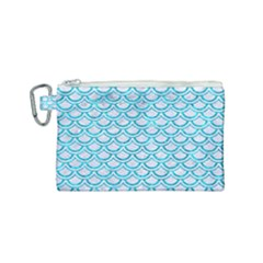 Scales2 White Marble & Turquoise Marble (r) Canvas Cosmetic Bag (small)