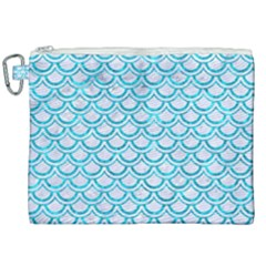 Scales2 White Marble & Turquoise Marble (r) Canvas Cosmetic Bag (xxl) by trendistuff