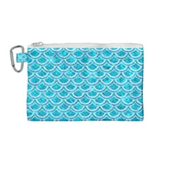 Scales2 White Marble & Turquoise Marble Canvas Cosmetic Bag (medium) by trendistuff