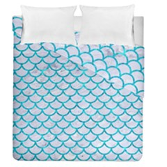 Scales1 White Marble & Turquoise Marble (r) Duvet Cover Double Side (queen Size) by trendistuff