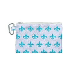 Royal1 White Marble & Turquoise Marble Canvas Cosmetic Bag (small) by trendistuff