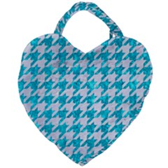 Houndstooth1 White Marble & Turquoise Marble Giant Heart Shaped Tote by trendistuff