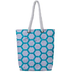 Hexagon2 White Marble & Turquoise Marble (r) Full Print Rope Handle Tote (small) by trendistuff
