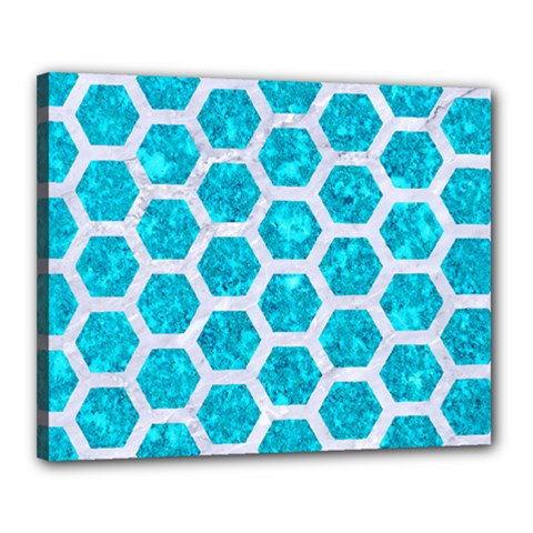 Hexagon2 White Marble & Turquoise Marble Canvas 20  X 16  by trendistuff