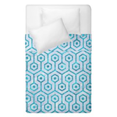 Hexagon1 White Marble & Turquoise Marble (r) Duvet Cover Double Side (single Size) by trendistuff