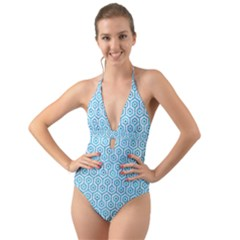 Hexagon1 White Marble & Turquoise Marble (r) Halter Cut Out One Piece Swimsuit by trendistuff