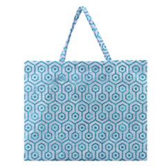 Hexagon1 White Marble & Turquoise Marble (r) Zipper Large Tote Bag by trendistuff