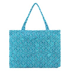 Hexagon1 White Marble & Turquoise Marble Medium Tote Bag by trendistuff