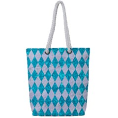 Diamond1 White Marble & Turquoise Marble Full Print Rope Handle Tote (small) by trendistuff